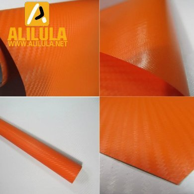 3DTQ-O, Orange High Flexible 1.52m*30m With Air Channel Bubble Free 3D Carbon Vinyl Film