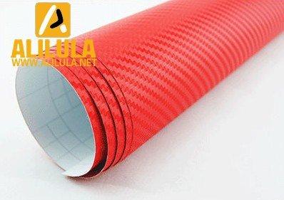 3DTQ-R, Red High Flexible 1.52m*30m With Air Channel Bubble Free 3D Carbon Vinyl Film