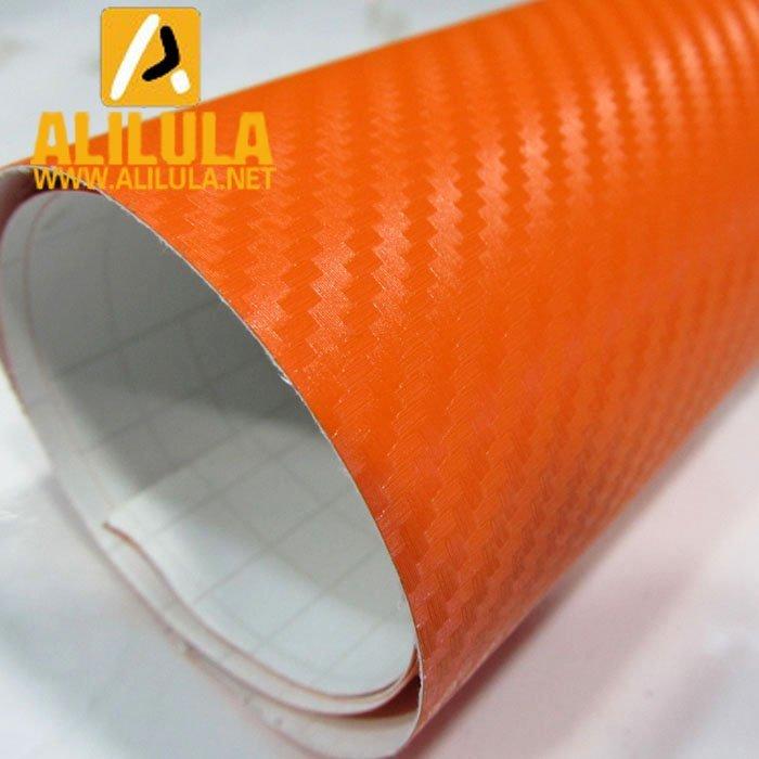3DTQ-O, Orange High Flexible 1.52m*30m With Air Channel Bubble Free 3D Carbon Vinyl Film