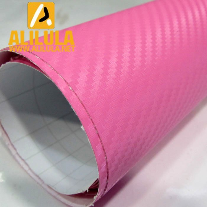 3DTQ-P, Pink High Flexible 1.52m*30m With Air Channel Bubble Free 3D Carbon Vinyl Film