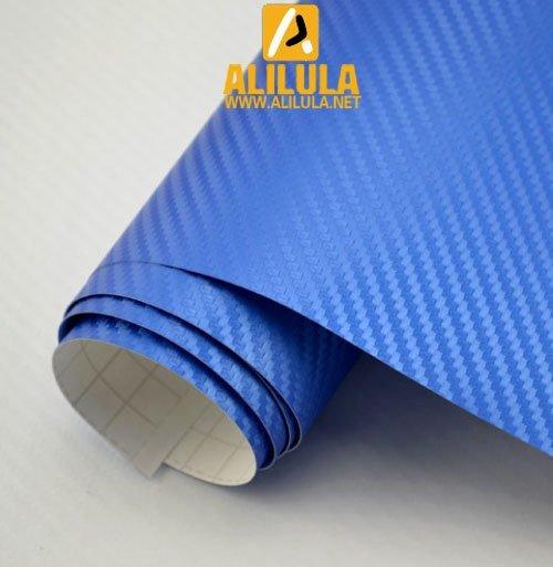 3DTQ-BM, Blue Mettalic High Flexible 1.52m*30m With Air Channel Bubble Free 3D Carbon Vinyl Film