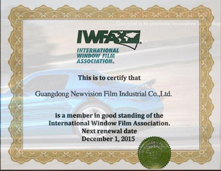 Internationl Window Film Accociation Certificate