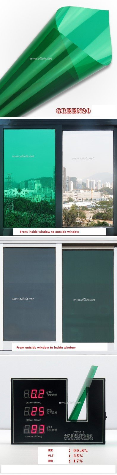 Green Non-reflective Two-way Perspective Decoration Building Tint, Item:Green20