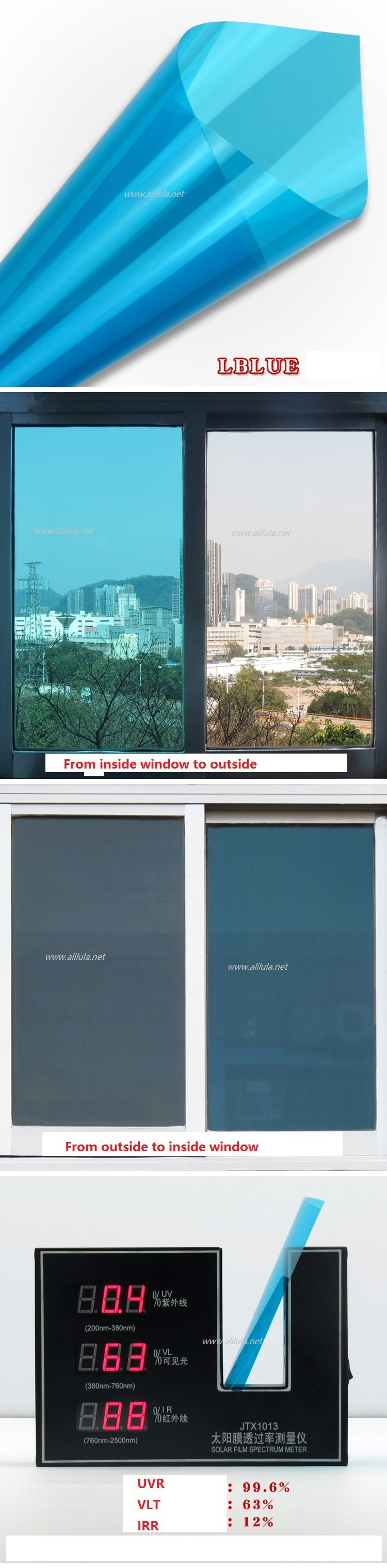 Colored Building window Tint in blue color